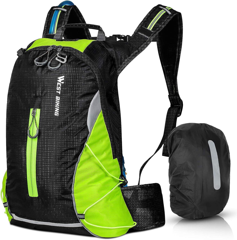 ICOCOPRO Mochila de bicicleta impermeable para hombre y mujer, 16 L, pequeña mochila de senderismo, ligera, mochila deportiva, mochila reflectante para senderismo, escalada, ciclismo, correr