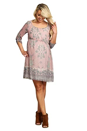 a61b14c6570 Image Unavailable. Image not available for. Color  PinkBlush Maternity  Mauve Floral Chiffon 3 4 Sleeve Maternity Dress ...