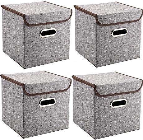 MEELIFE Cajas de Almacenamiento 4-Pack Tejido de Lino Cubos de Almacenamiento Plegables Cajas con Tapa y Asas Caja organizadora para estantes Dormitorio de la Oficina Guardería (Gris): Amazon.es: Hogar