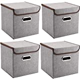 Storage Bins Pack of 4 Mee'life Storage Linen Fabric Foldable Basket Cubes Organizer Boxes Containers Drawers with Lid & Handle for Office Nursery Bedroom Shelf Grey