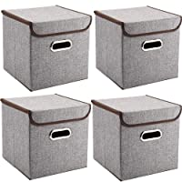 MEE'LIFE Storage Boxes Set of 2, Cotton Fabric Storage Bins Baskets with Lids Container Clothes Blanket for Books Toys DVDs Art and Craft Washing Laundry Organization