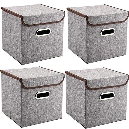MEELIFE Cajas de Almacenamiento 4-Pack Tejido de Lino Cubos de Almacenamiento Plegables