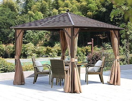 YOLENY 10' 10' Outdoor Hardtop Gazebo Canopy Curtains Aluminum Furniture