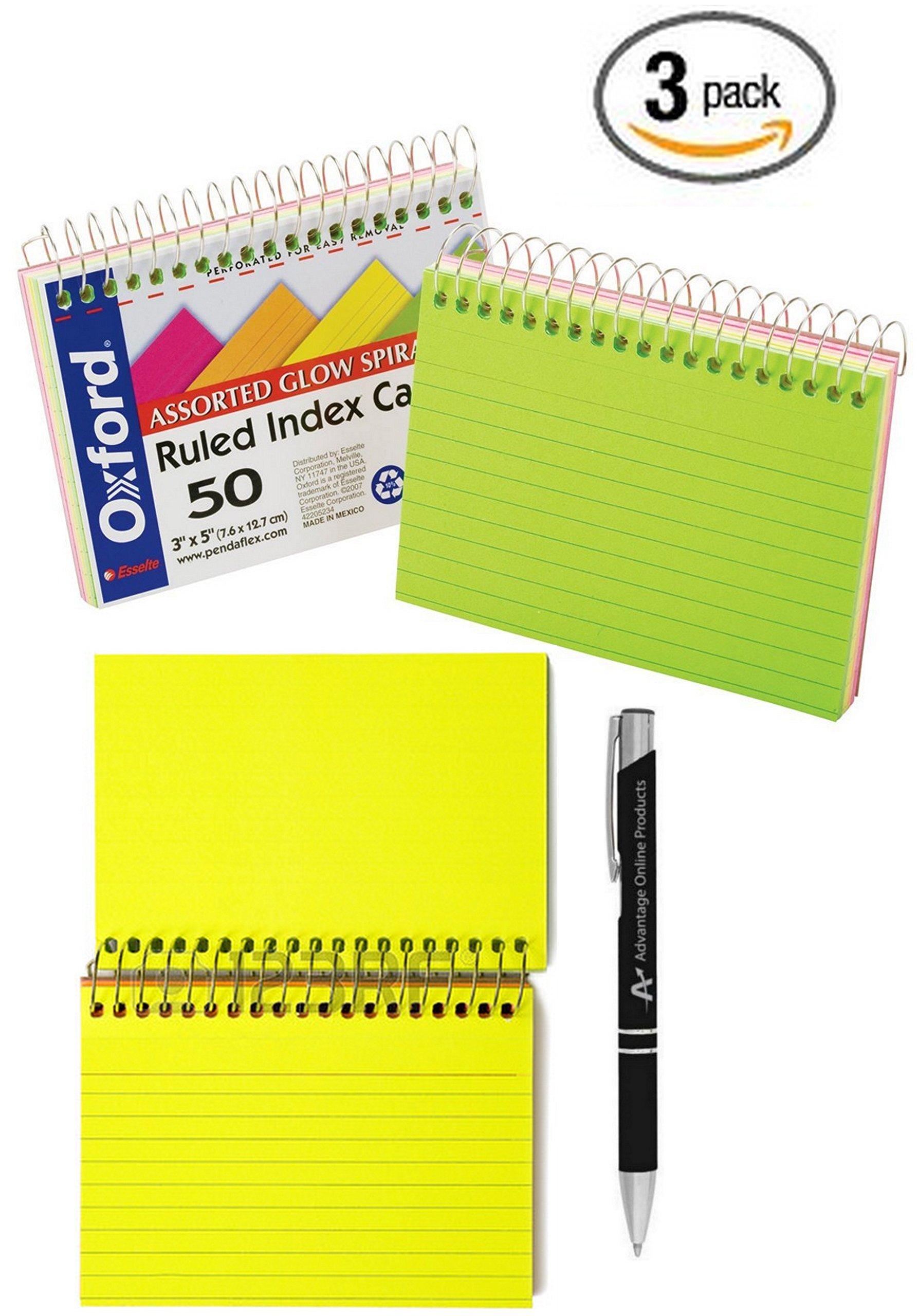 Value Bundle 3-Packs Oxford Spiral Bound Glow Index Cards, 3'' x 5'', Ruled, Asst Bright Colors, 50 Cards per Book (40281) includes Bonus AdvantageOP Black and Chrome Pen (40281x3+P) by Advantage Online Products, LLC (Image #1)