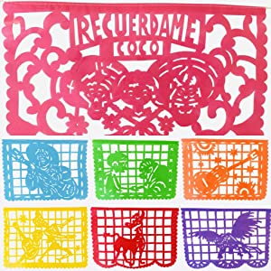 TexMex Fun Stuff Coco Inspired Plastic Papel Picado Banner, 10 Large Colorful Fiesta Flags Included, Dia de los Muertos Decor, Mexican Party Streamers Hang 16 Ft Long