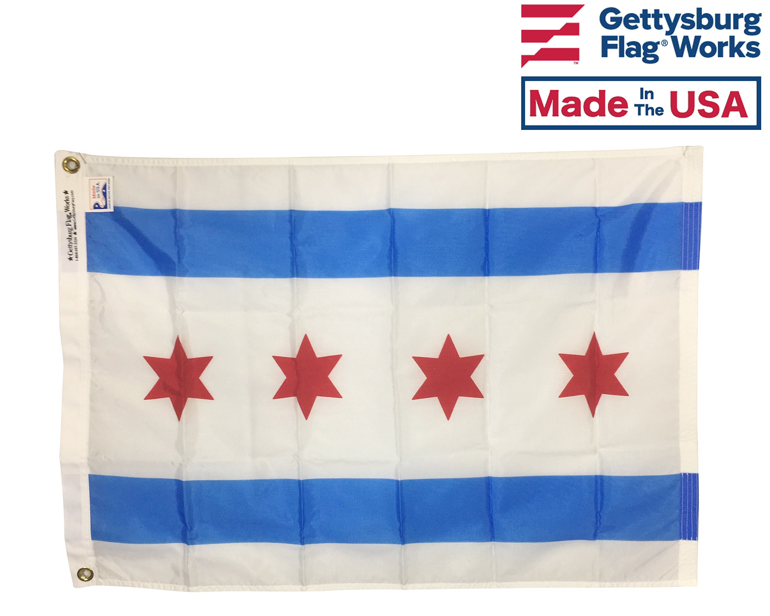 5x8' Chicago City All Weather Nylon Outdoor Flag - Made in USA