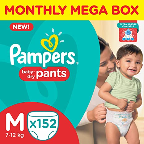buy pampers medium size diaper pants monthly box pack 152 count