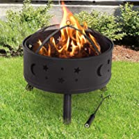 """BestMassage Outdoor Fire Pit Round 24"""" FirePit MetalFire Bowl Fireplace Backyard Patio Garden Stove with Charcoal Rack, Poker & Mesh Cover"""
