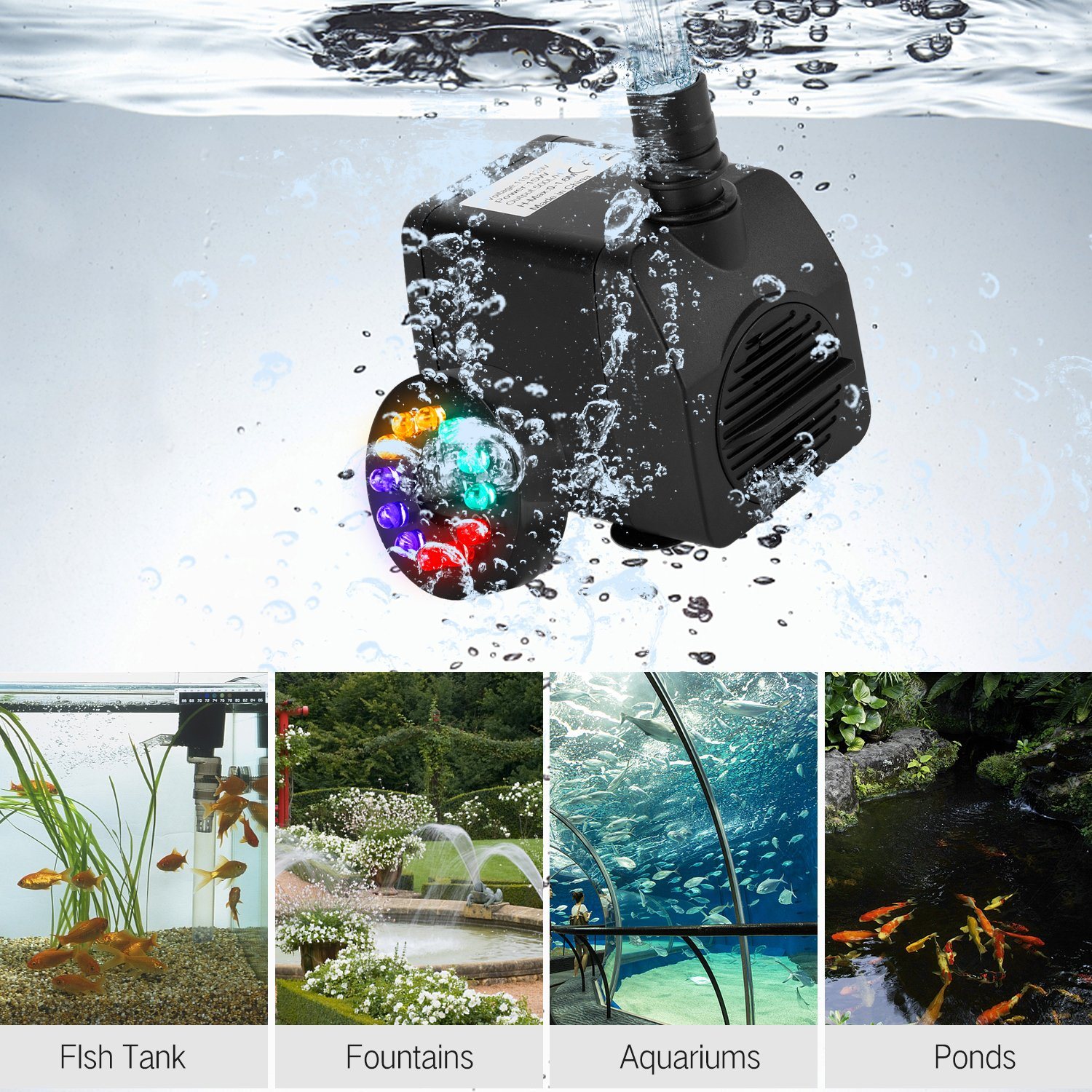 Fannel 220 GPH (800L/H, 15W) Submersible Water Pump for Fish Tank, Aquarium, Fountain, Pond, Small Silent 12 LED Colorful Pump Lights with 2 Nozzles, 6 Feet Power Cord (Black one) by Fannel (Image #7)