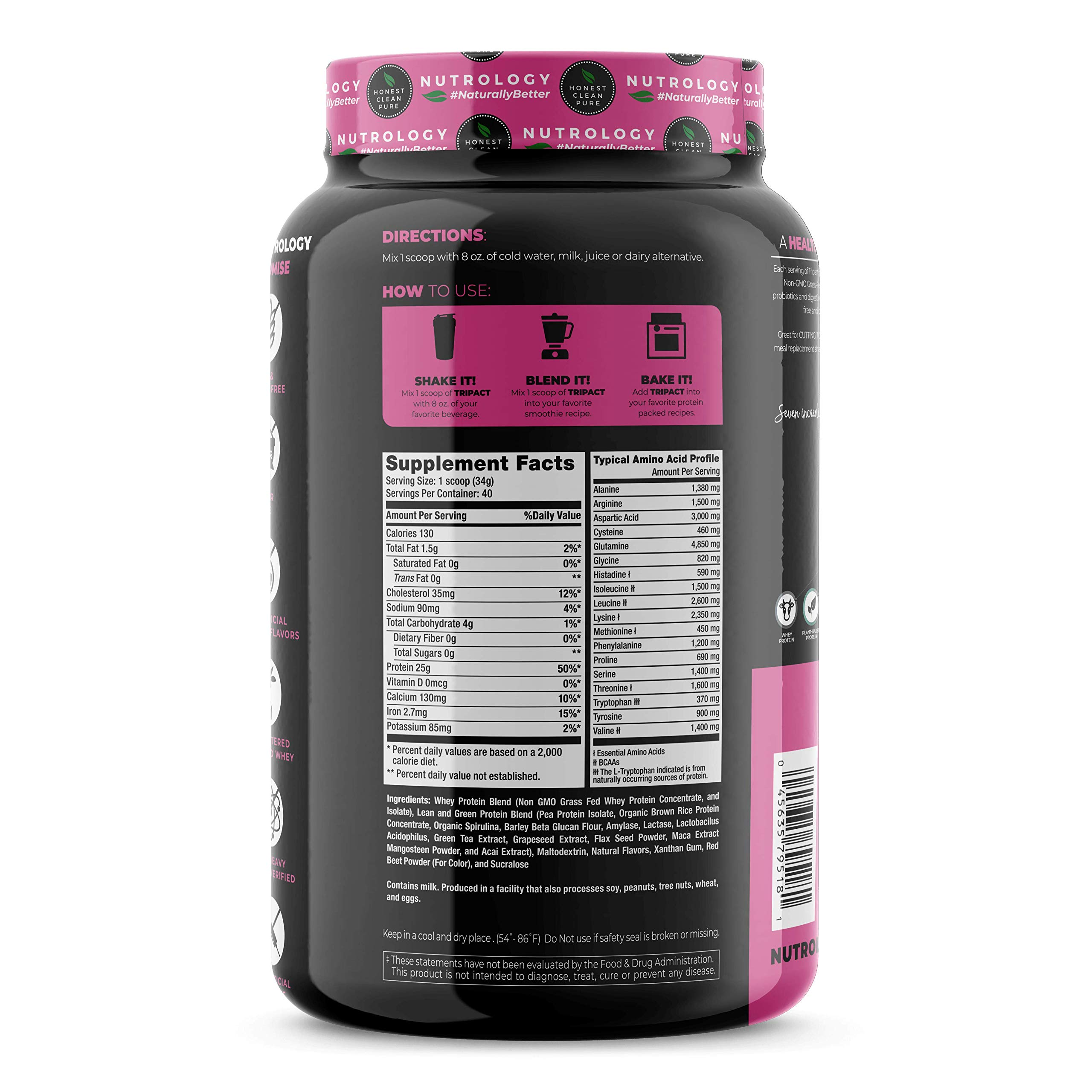 TRIPACT PROTEIN - Superberry 3lb. - Premium Nutrition Shake Featuring Non-GMO Grass Fed Whey Protein, Plant Proteins, Greens, Superfoods and Probiotics.