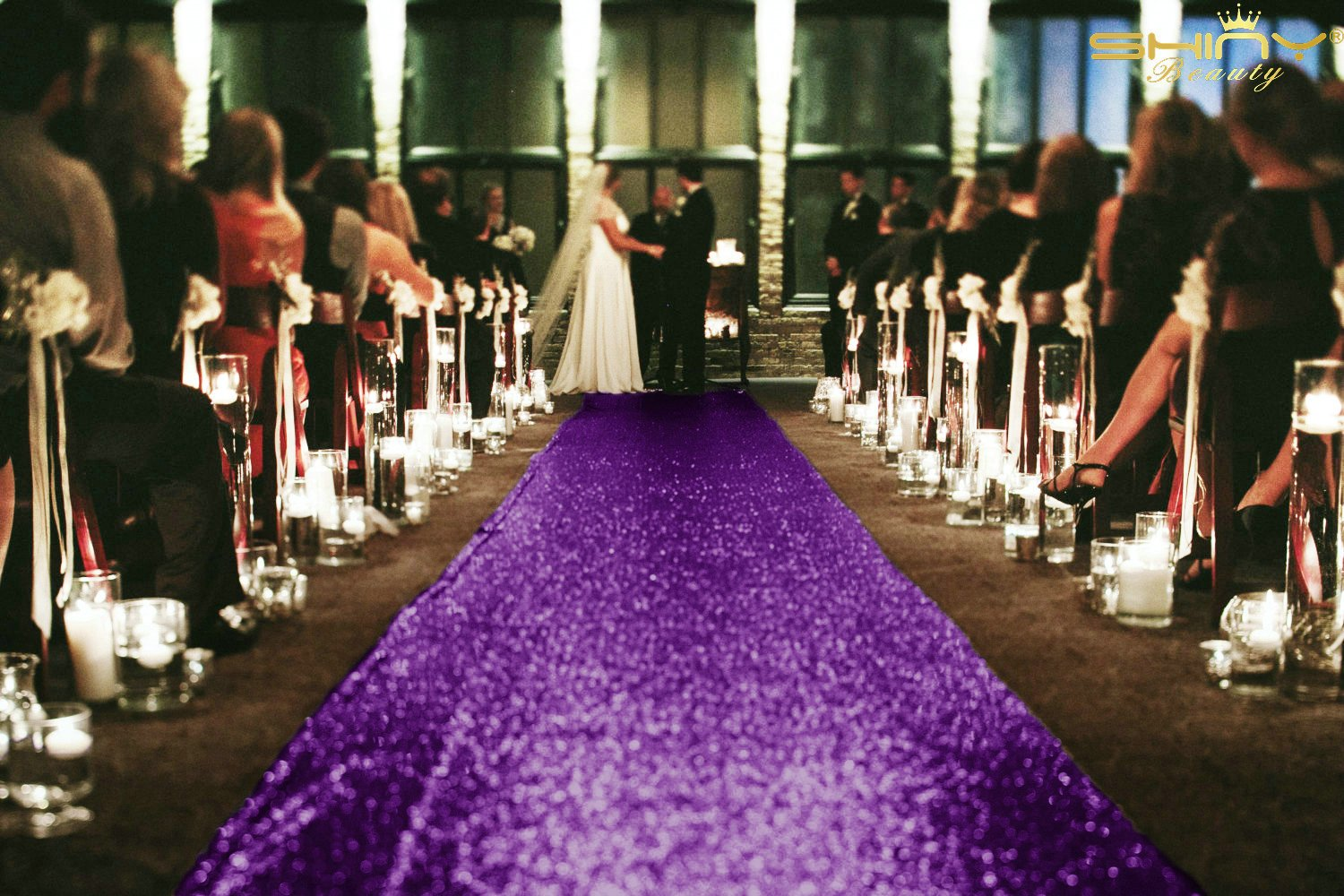 ShinyBeauty 20FTX4FT-Aisle Runner-Purple,Wedding Accessories Carpet Aisle Runner,Slip Hallway Stair Runner Rug For Thanksgiving (Purple)