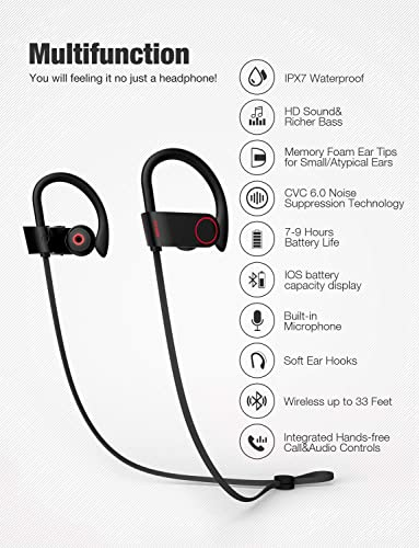Otium Bluetooth Headphones, Best Wireless Sports Earphones w Mic IPX7 Waterproof HD Stereo Sweatproof in-Ear Earbuds Gym Running Workout 8 Hour Battery Noise Cancelling Headsets