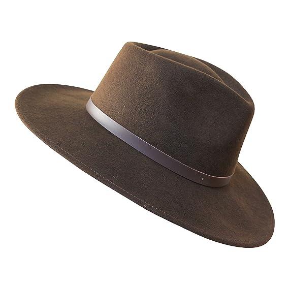 B S Premium Lewis - Sombrero de ala Ancha Fedora - 100% Fieltro de Lana -  Resistente al Agua - Banda de Piel  Amazon.es  Ropa y accesorios b7efd4d4f9ab