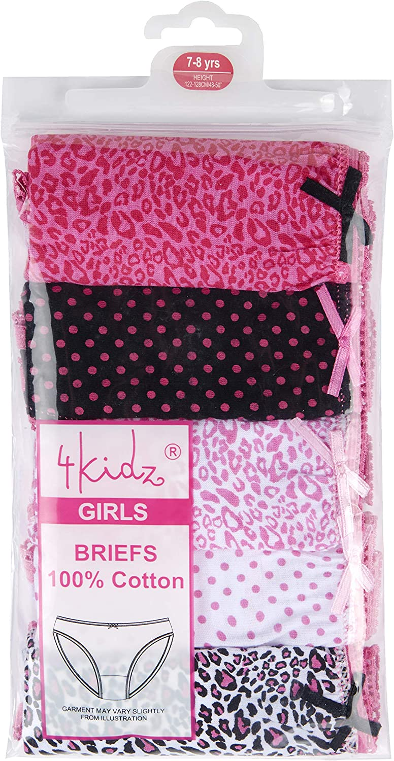 4 KIDZ Girls Five Pack Pants Briefs Knickers Underwear Three Styles 2-3 Up to 13 Years