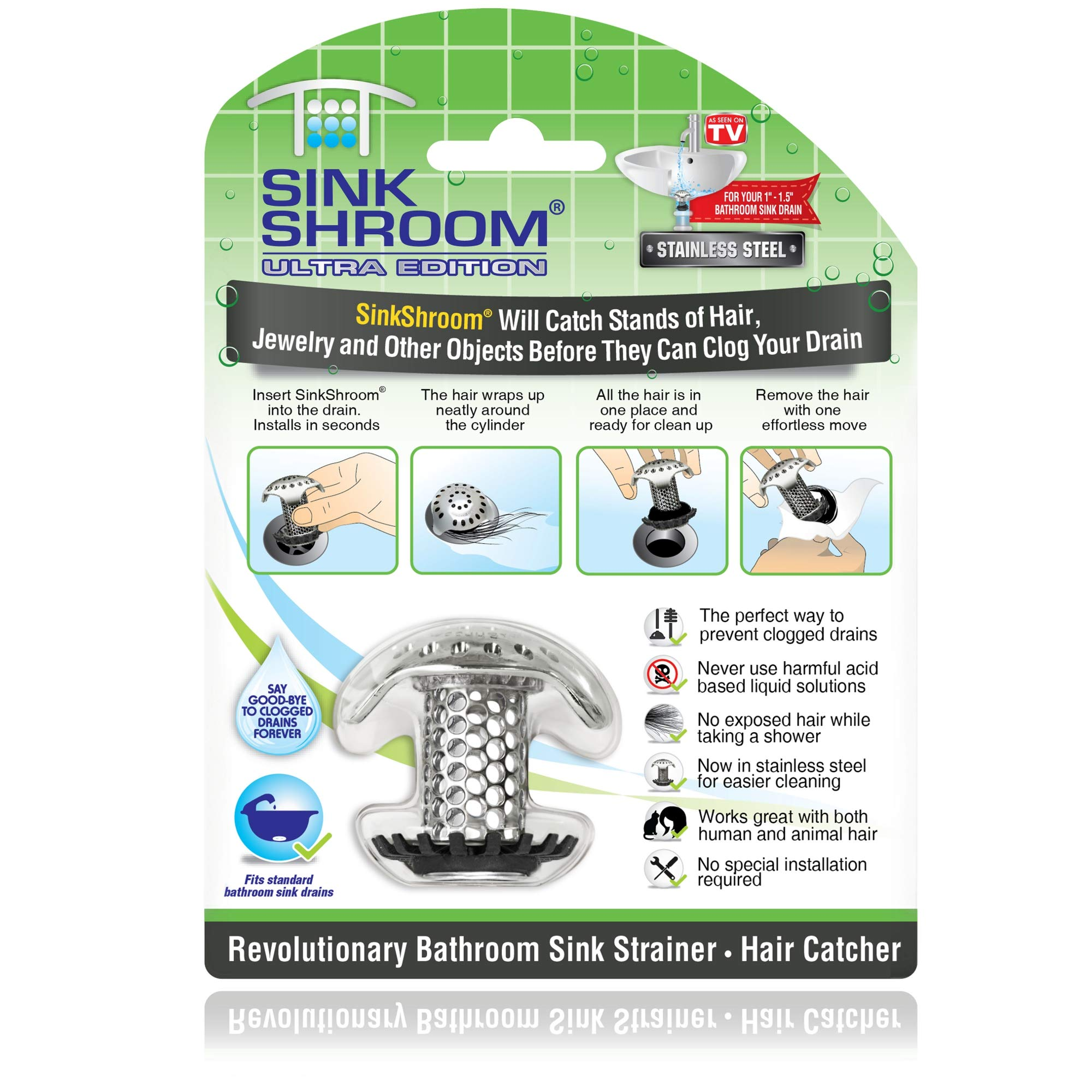 SinkShroom Ultra Revolutionary Bathroom Sink Drain Protector, Stainless Steel