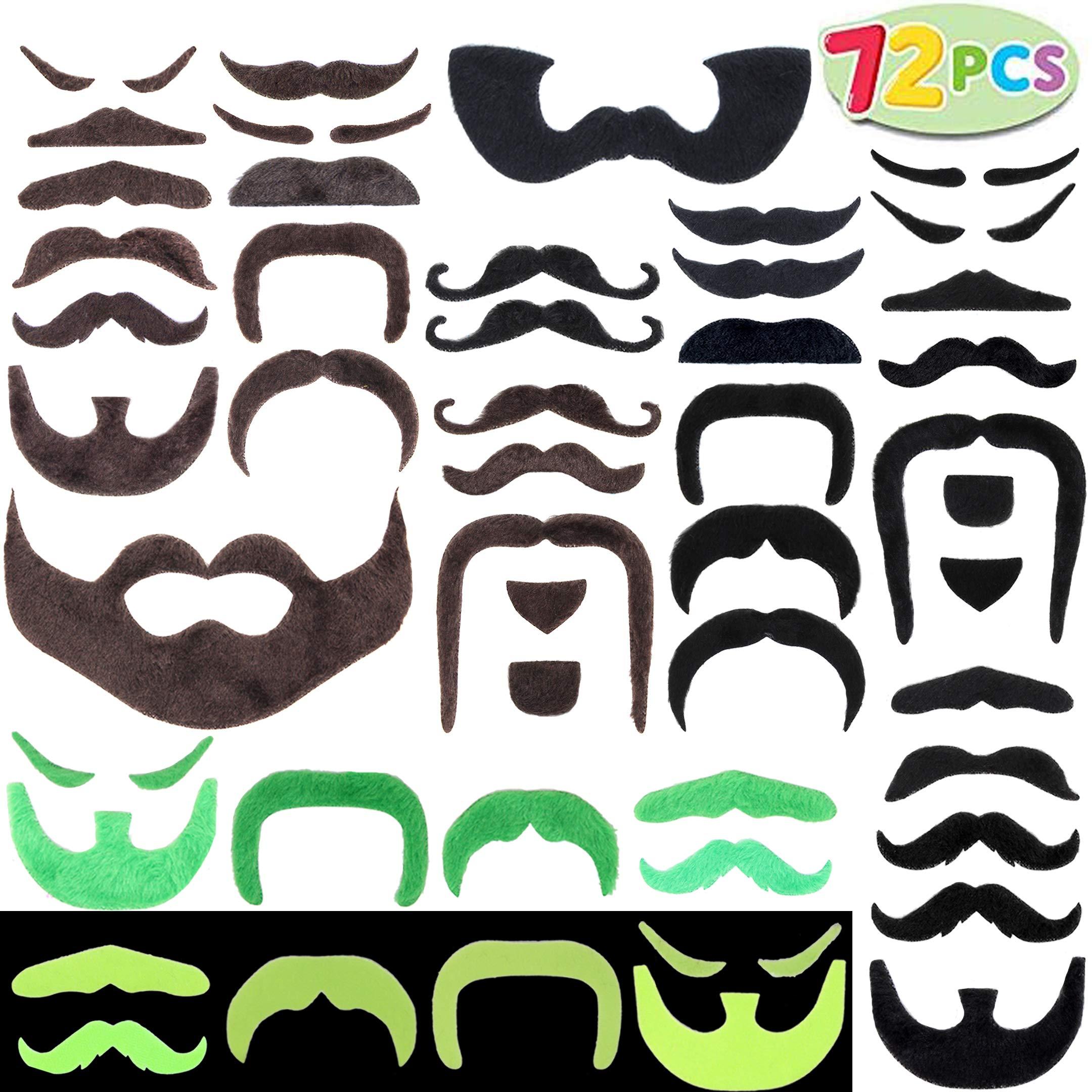 JOYIN 72 Fake Mustache Beard Self Adhesive Novelty St Patricks Costume Accessories, Sombrero Favor Supply Decoration