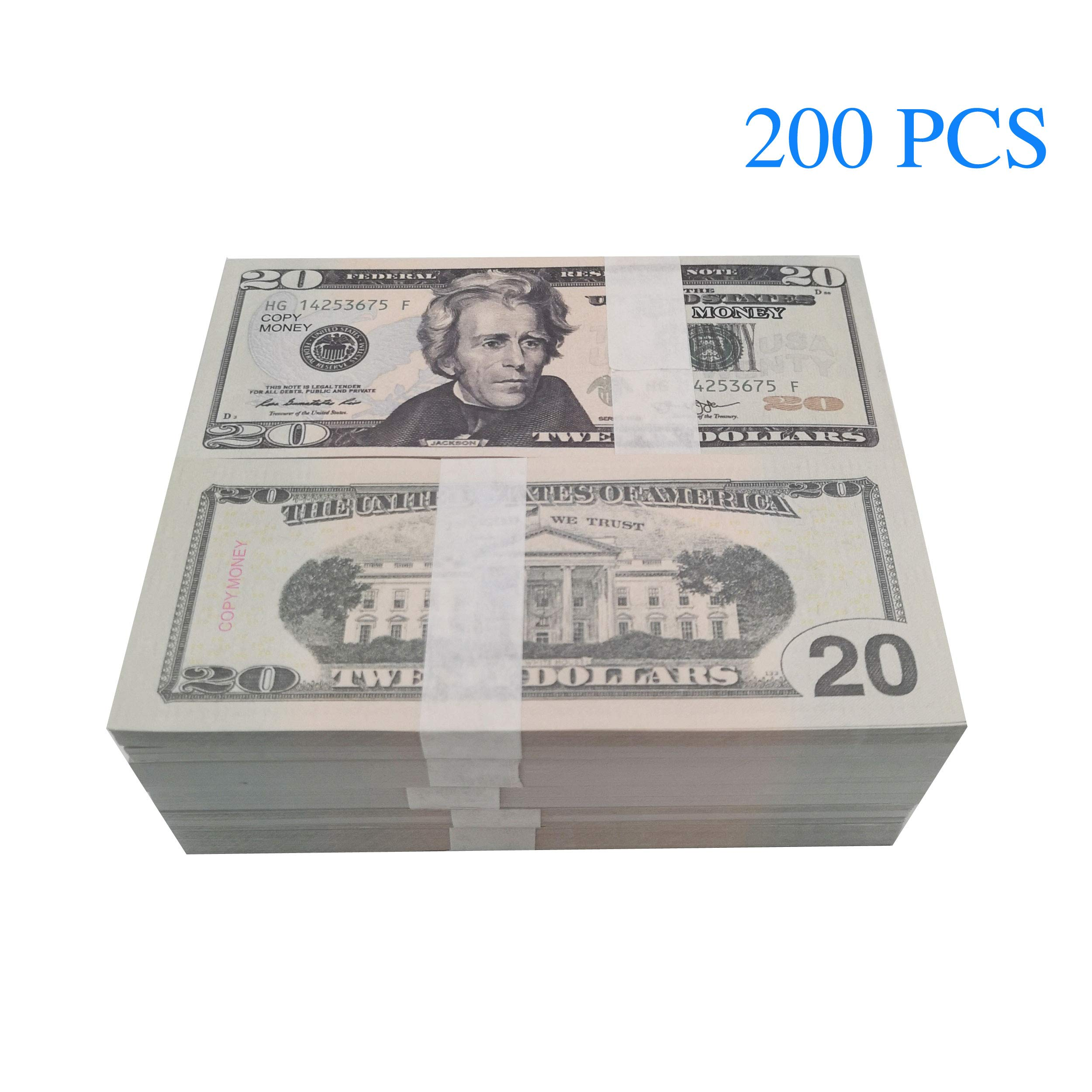Nice Gift Movie Prop Money Full Print 2 Sided,200 pcs 20 Dollar Bills Stack,Copy Money for Movies,Teaching and Birthday Party