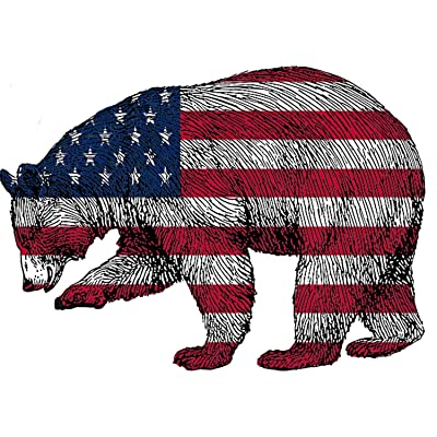 Rogue River Tactical Bear Hunter Decal Sticker Silhouette American Flag USA Large 4x4 Inch Patriotic Decal Auto Bumper Sticker Vinyl Car Truck RV SUV Boat Window Hunting: Automotive