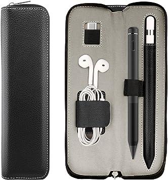 TiMOVO Bolso de Lápiz Apple Pencil de 1nd&2nd Generación,Soporte para iPad Stylus,Funda de PU para iPad Air 4/iPad 10.2/Pro 11&12. 9/Samsung Stylus Pen,Estuche Portátilde Cable USB, Negro: Amazon.es: Electrónica