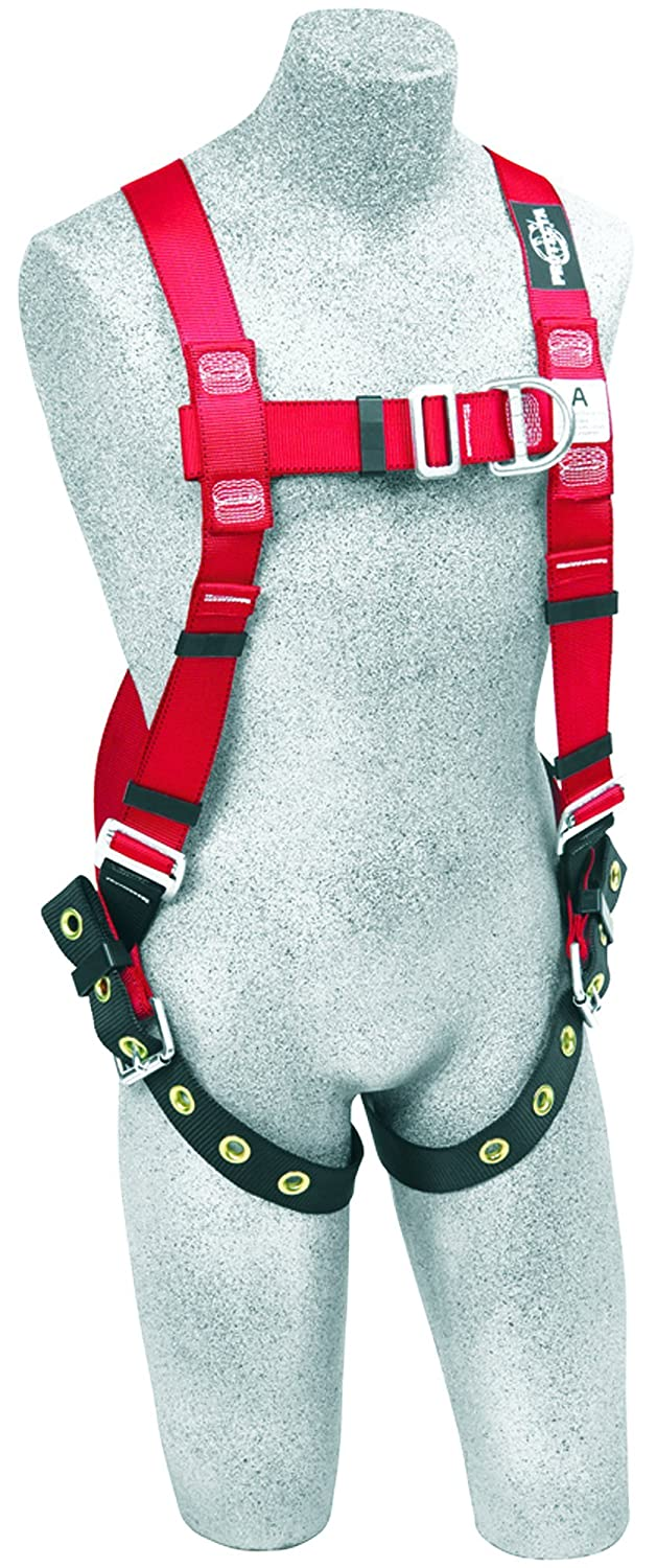 X-Large 420 lb Capacity Tongue Buckle Legs Red//Black Capital Safety 3M Protecta PRO 1191274 3M Protecta Fall Protection Full Body Harness Back and Front D-Rings