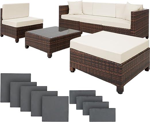 TecTake Salon de Jardin Résine Tressée Poly Rotin Aluminium avec deux Set  de Housses, vis en acier inoxydable - diverses couleurs au choix - (Marron  ...