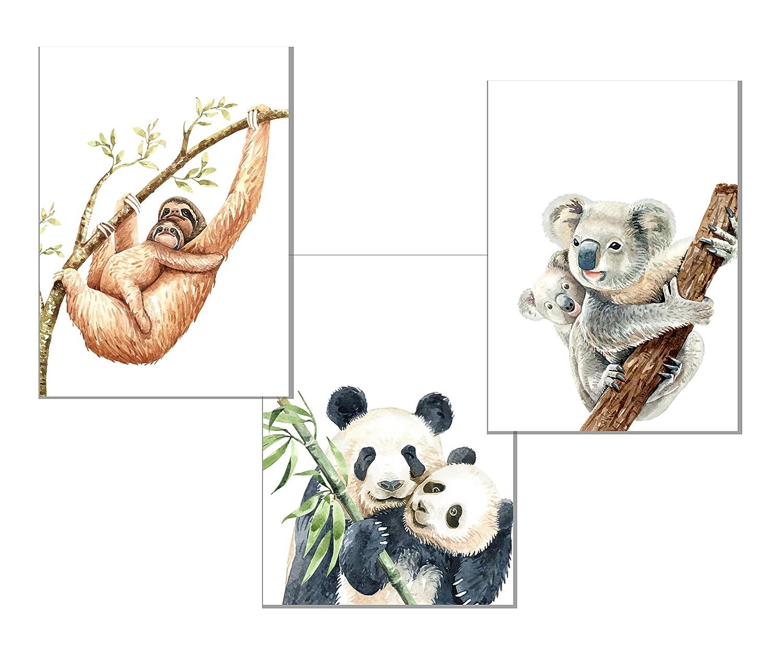 Babyzimmer Bild Deko DIN A4 Kinderzimmer Dekoration ohne Rahmen 3 B/ären RAIYARI 3er-Sets Kinderzimmer Poster f/ür M/ädchen und Jungen Wandbilder mit Tiermotiven