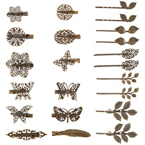BBTO 22 Pieces Vintage Hair Clips Barrettes Bronze Leaf Bobby Pin Flower Butterfly Heart Hair Clip for Girls and Women, Mix Styles