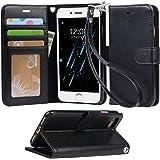 「Arae」 iphone 7 ケース 手帳型 iphone 7ケースRoHS規格認定書取得 iphone7 ケース スタンド機能付き iphone7ケース マグネット内蔵 アイホン 7 ケース ストラップ付き アイホン7 ケース 財布型 アイホン7ケース カードポケット付き アイホン 7ケース 耐衝撃(ブラック)