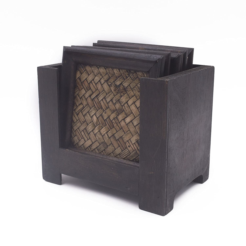Anzirose Posavasos cuadrados de madera y bambú estilo de tailandia Coasters con soporte juego de 6: Amazon.es: Hogar