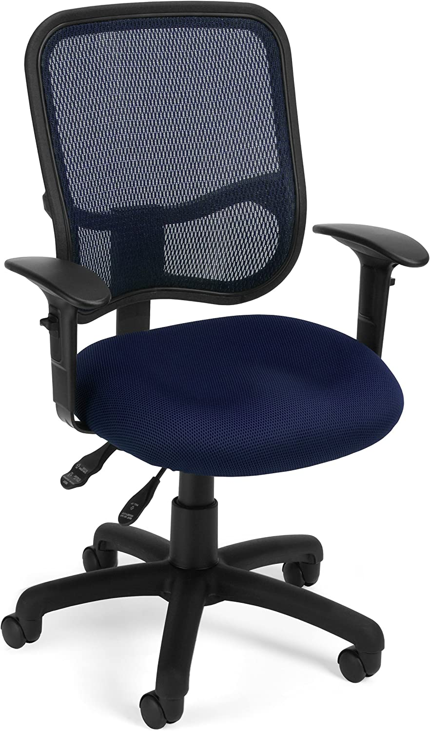 OFM Core Collection Comfort Series Ergonomic Mesh Swivel Task Chair with Arms, Mid Back, in Navy