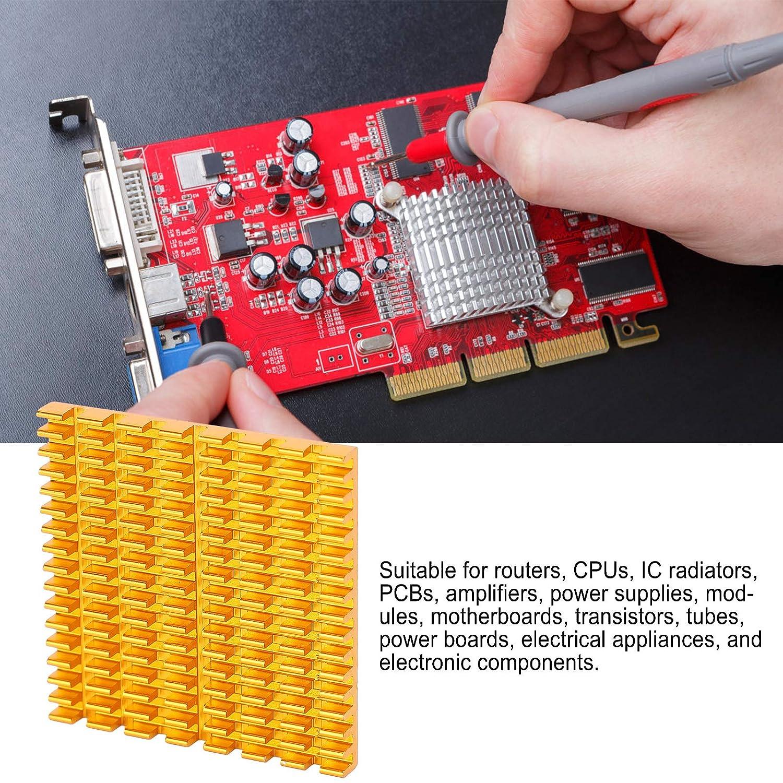 Golden 20 Pack Aluminum Heatsink Cooler Cooling Fin for Routers//CPUs//IC Radiators//PCBs//Amplifiers//Power Supplies 37x4x37mm Heatsinks