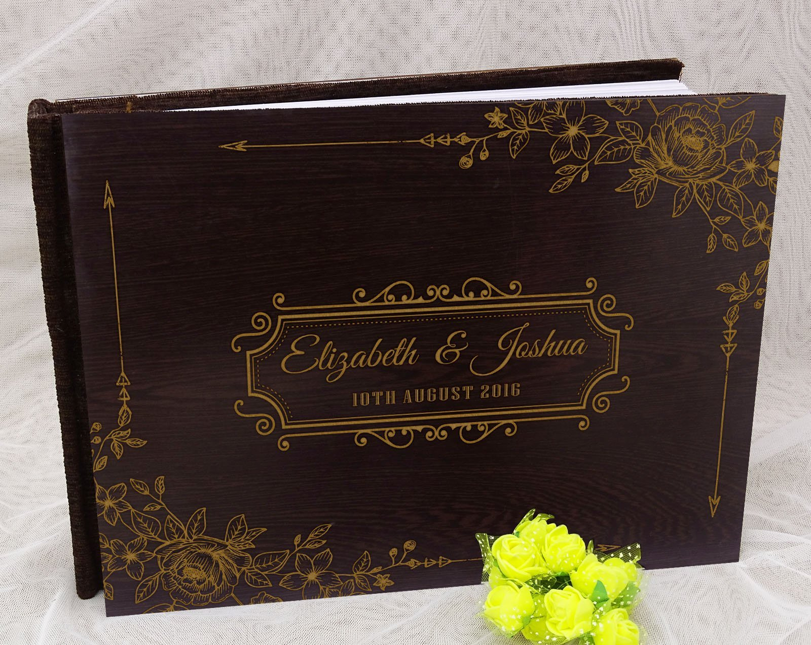 Personalized Wood Wooden Floral Engraved Bride & Groom Advice Book Personalized Rustic Wedding Guest Book - 50 Pages by Darling Souvenir (Image #3)