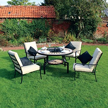 Kingfisher PITSET1 Fire Pit Dining Mosaic Set with 4 Chair and Cushions Garden  Furniture Patio Set. Kingfisher PITSET1 Fire Pit Dining Mosaic Set with 4 Chair and