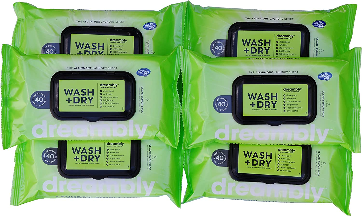 Dreambly Laundry Sheet, Organic, 6 in 1 Detergent, Whitener, Stain Remover, Brightener, Fabric Softener, Anti-Static, 240 Sheets (6 Packs)