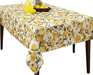 Creative Dining Group Lemon Tree Spill Proof Printed Tablecloth, 60 X  84 Inch