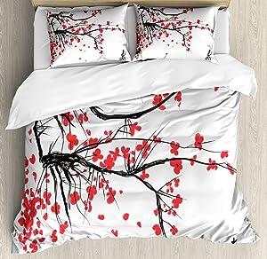 Ambesonne Nature Duvet Cover Set, Sakura Blossom Japanese Cherry Tree Garden Summertime Vintage Cultural Print, Decorative 3 Piece Bedding Set with 2 Pillow Shams, Queen Size, Grey Vermilion