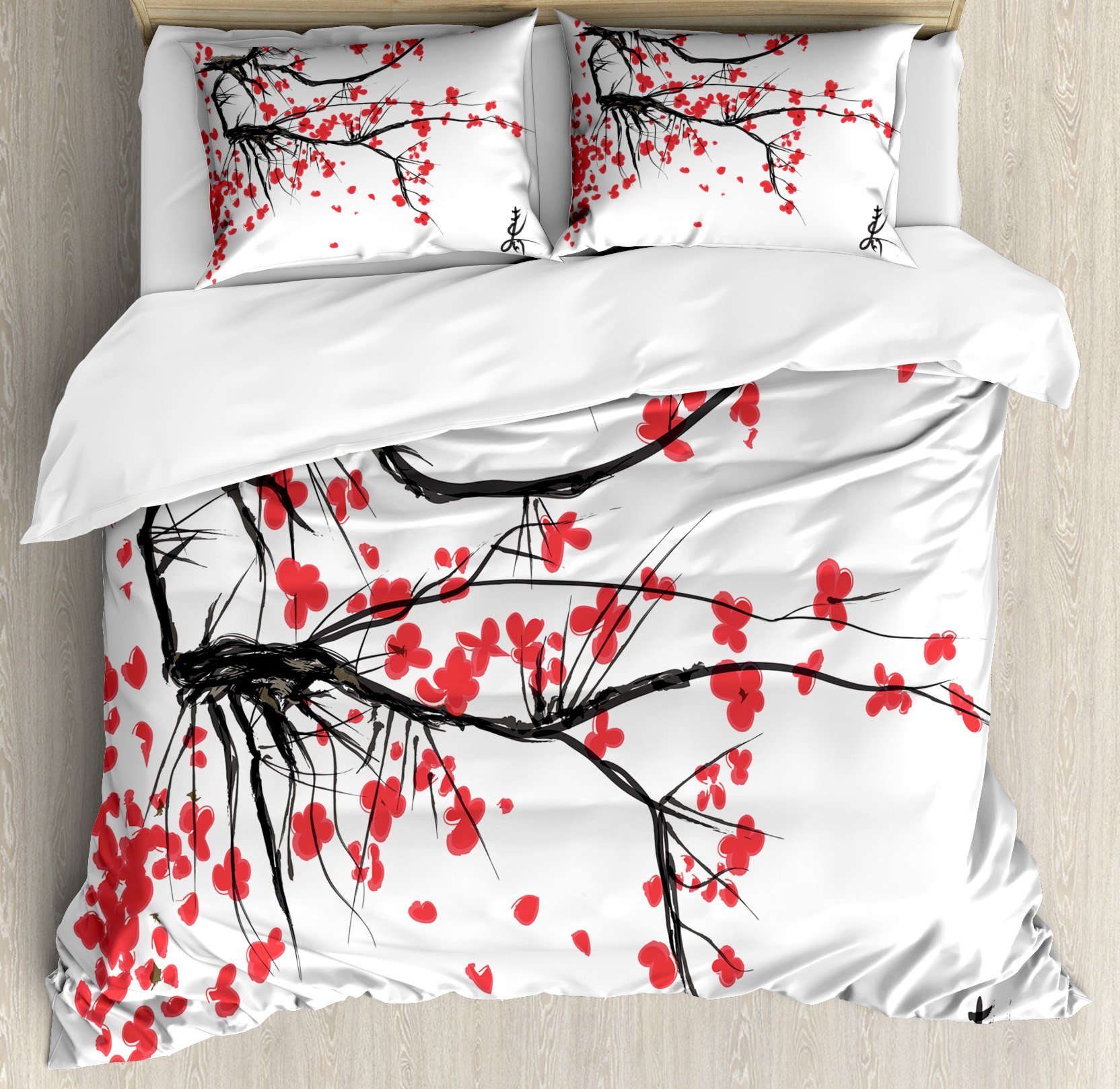 Ambesonne Nature Duvet Cover Set King Size, Sakura Blossom Japanese Cherry Tree Garden Summertime Vintage Cultural Print, Decorative 3 Piece Bedding Set with 2 Pillow Shams, Grey and Vermilion