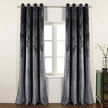 PimpamTex Lot de 2 rideaux en velours opaques, thermiques et isolants, avec  8 œillets, 140 x 260 cm, modèle velours Pour salon ou chambre 140_x_260_cm  ...