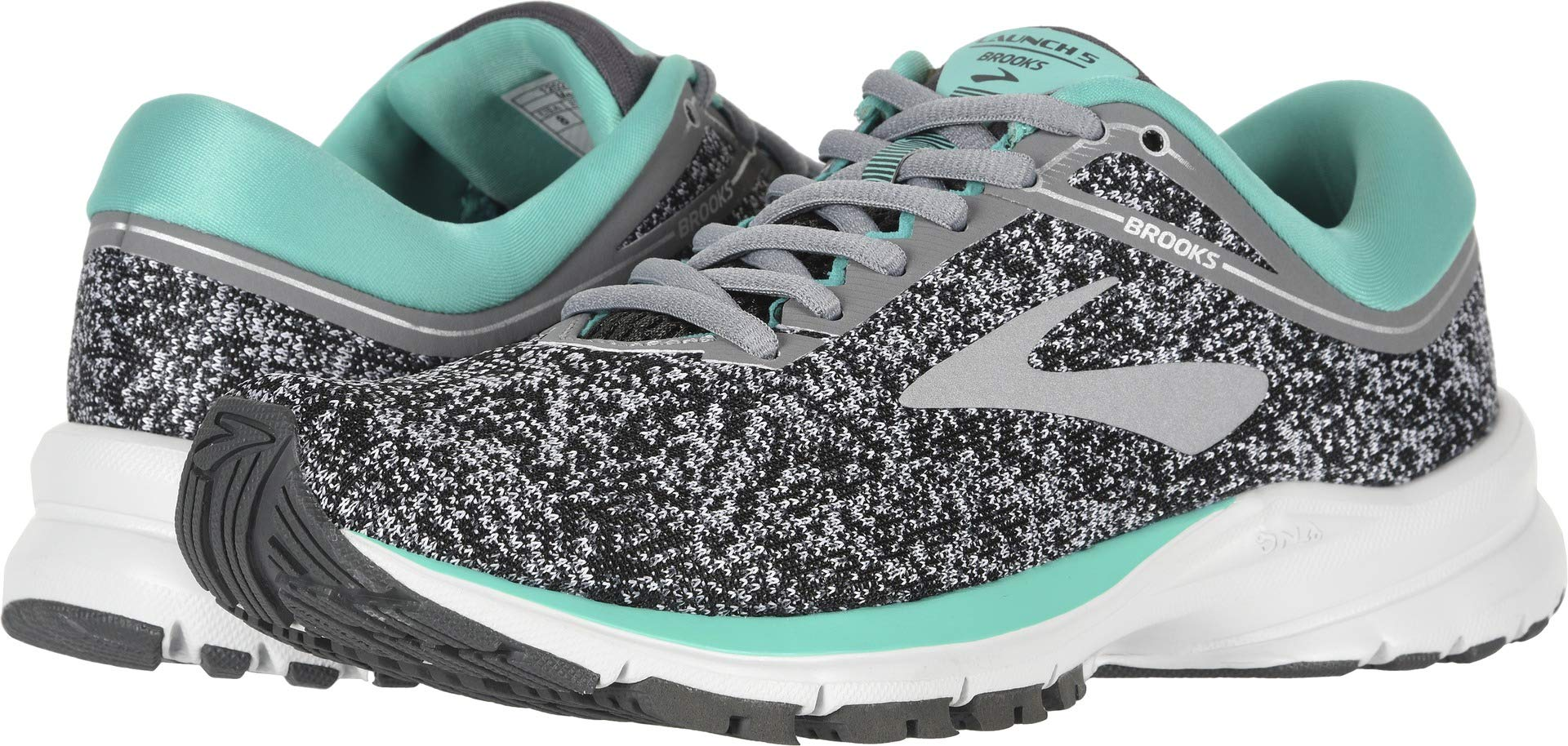 Brooks Women's Launch 5 Grey/Aqua Green/Ebony 8.5 B US