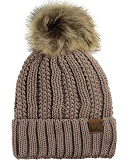 84771b446ff C.C Thick Cable Knit Faux Fuzzy Fur Pom Fleece Lined Skull Cap Cuff Beanie