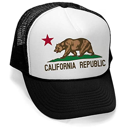 ea87af303a4d5 Men s Original California Republic Flag Hat PLY B449 Black White Trucker Hat   Amazon.co.uk  Kitchen   Home