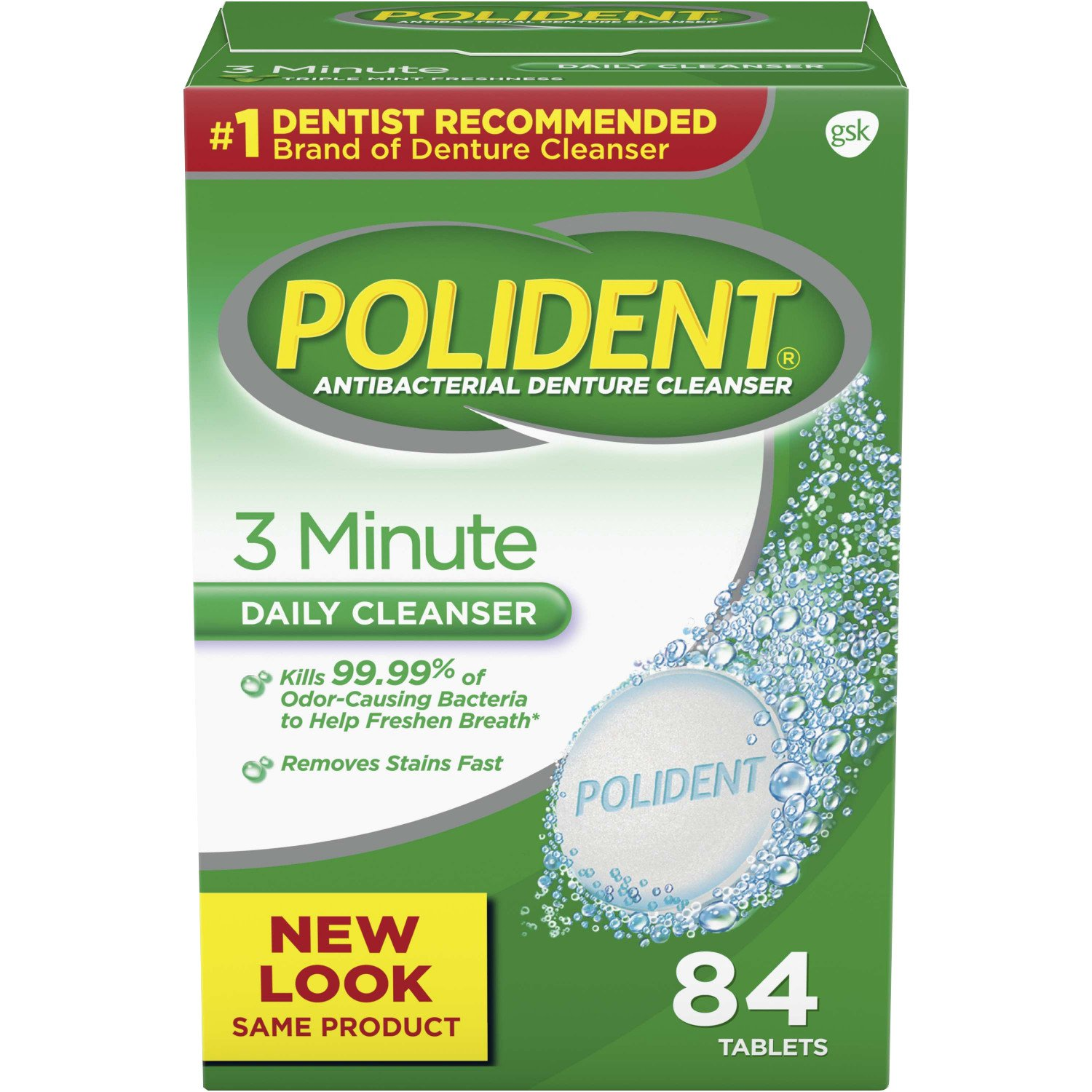 Polident 3 Minute Triple Mint Antibacterial Denture Cleanser Effervescent Tablets, 84 count (Pack of 3) 05316