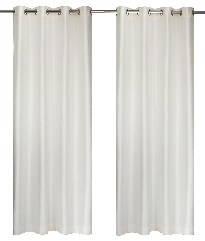 Pineapple Yellow 56x88-in Set of 2 Silkana Faux Silk Grommet Curtain Panels