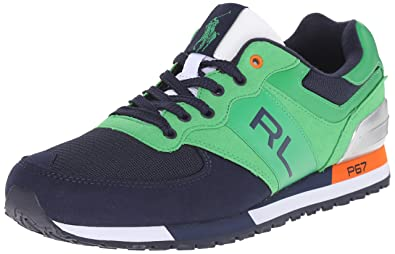 Polo Ralph Lauren Men's Slaton RL Fashion Sneaker, Preppy Green/Newport Navy,  8.5