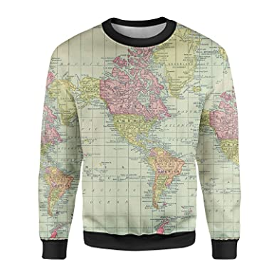 World Map Sweater.Queen Of Cases Antique World Map 1913 Mens Sweatshirt At Amazon