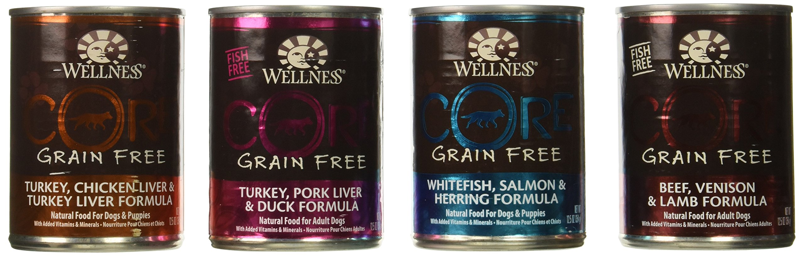 Wellness CORE Natural Grain Free Wet Canned Dog Food Variety Pack - 4 Different Flavors - 12.5 Ounces Each (12 Total Cans) by Wellness Natural Pet Food