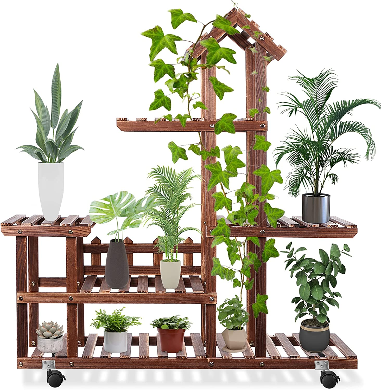 Wooden Plant Stand Indoor Outdoor, Multilevel Plant Shelf Garden Decor Display Tiered Flower Pot Stand, Large Capacity Garden PlantRackforCornerLivingRoom Balcony Patio with 3 Free Gardening Tool