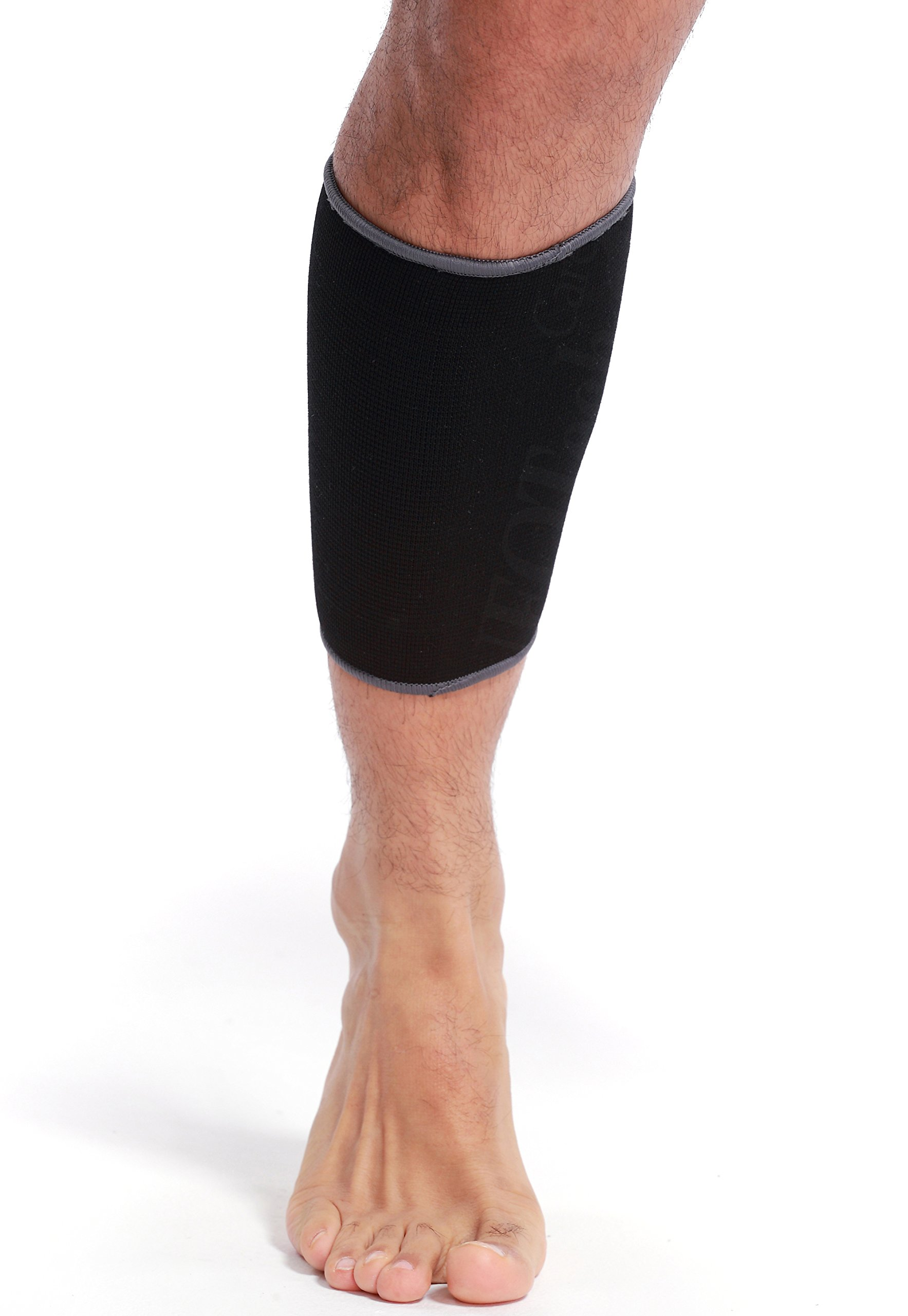 Neotech Care Calf Sleeve Support, Band - Elastic & Breathable Knitted Fabric - Muscle Pain Relief - Medium Compression - Black Color (Size L)