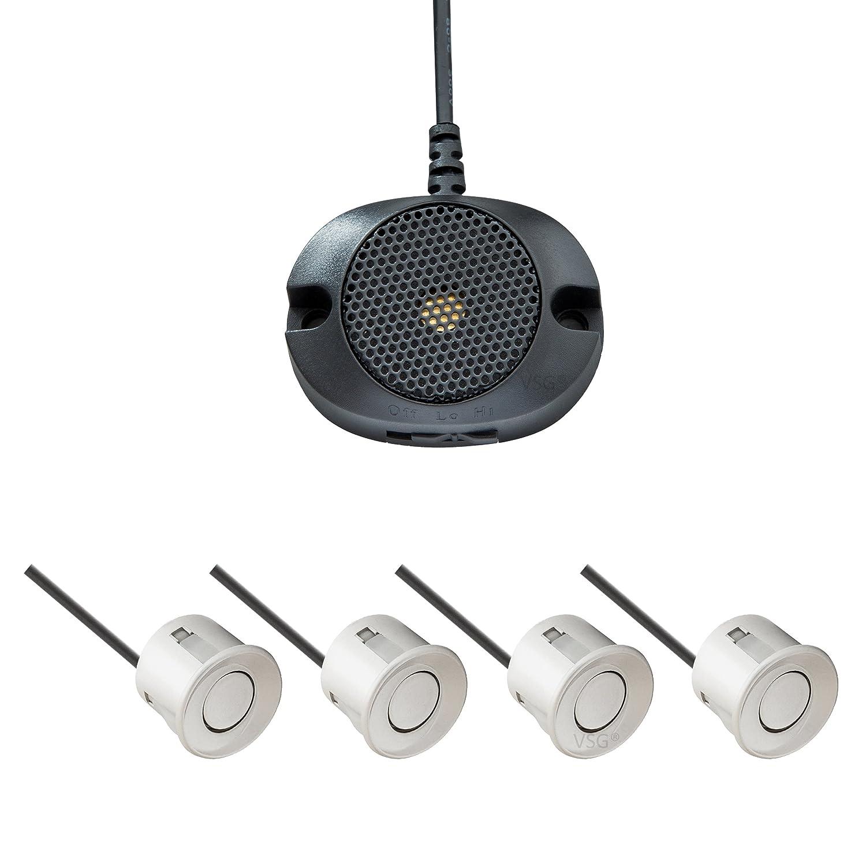 VSG /® VSG Einparkhilfe Kombi-Set f/ür vorne/&hinten mit Farb-Display und eingebauten Pieper in wei/ß