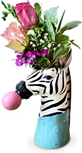 Face Vase – Zebra Vase. This Fabulous face Planter Makes an Ideal Elegant Ceramic Vase for Any Home or Office Decor. The Perfect Head Planter for a Touch of Animal Magic. (Zebra)